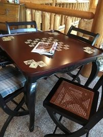 Beautiful game table with folding chairs