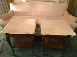 Classic vintage sofa needs reupholstering 50.00. Marble top tables.