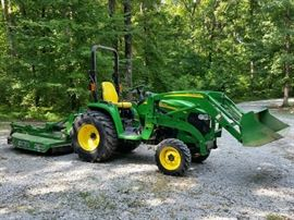 John Deere 3120 tractor (410 hours) with loader and 5 ft. bush hog