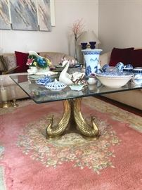 Hollywood Regency Brass base Peacock coffee/end tables