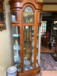 Ridgeway Grandfather Clock and Curio Cabinet all in one!