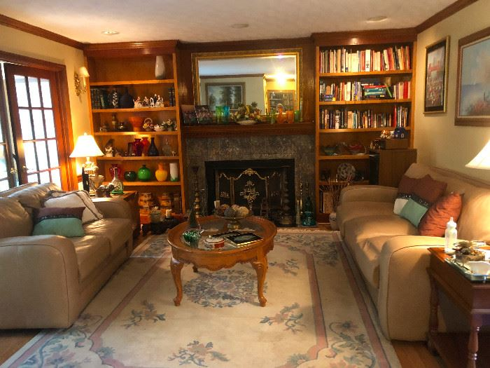 Den, Leather  matching sofa, loveseat and chair