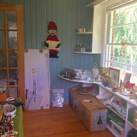 Christmas room with tree, china, etc.