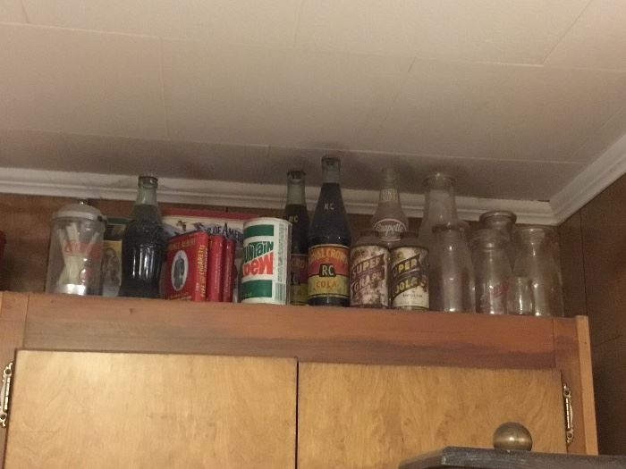 Collectible tins, bottles