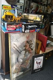 Oriental wall dusplay art NICE!.....Star Wars.....Vintage old west toy wagon....Gold die cast