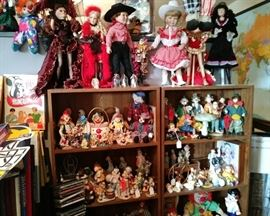Assorted clowns......Top of picture are assorted dolls on stands.......