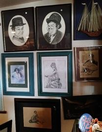 Laurel and Hardy and other framed pictures