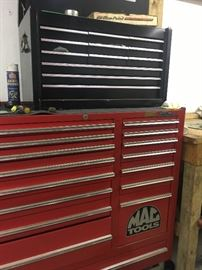 Bottom Mac tool chest  New $12,000. Our price $2,000 Top is Craftman tool box.