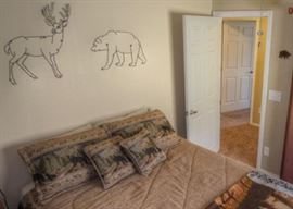 Bed, Linens, and Cabin Art