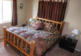 Queen Rustic Cabin Log Bed
