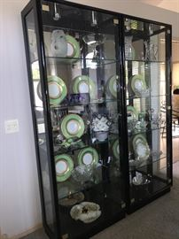 Contents of the cabinets are NOT for sale. Pair of gorgeous display cabinets.