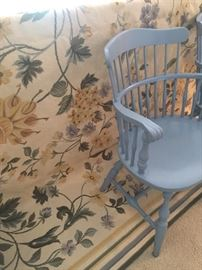 Needlepoint area rug - large and kitchen arm chairs - 4
