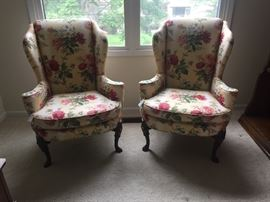Wing back arm chairs - with Chippendale legs