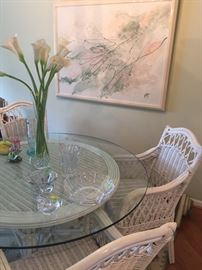 "Wicker 48"" round glass topped table with 4 chairs, large acrylic framed piece and cut crystal"