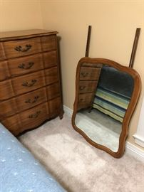 "Antique 5 Drawer Dresser w/Attachable Mirror; Dimensions:  18.50"" Depth X 36"" Width X 47"" Height"