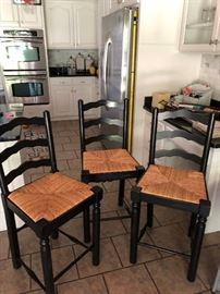 3 Black Farmhouse Bar Stools