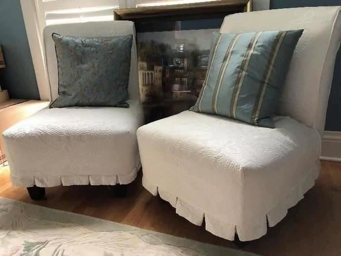 2 Armless Chairs with 2 Sets of Slipcovers