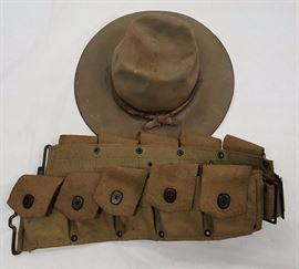 WWI Hat and Ammo Belt