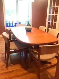 Mid Century Modern Teak Dining Room Set by Benny Linden  With 8 chairs!