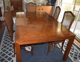 Vintage burl wood dining table w/ 2 leaves and 6 chairs