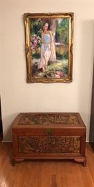 Hand Carved Trunk from Hong Kong & Oil Painting