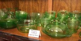 Georgian Lovebird Vaseline Glass