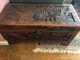 Beautiful carved-wood, Asian chest