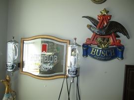 Beer mirrors and sign