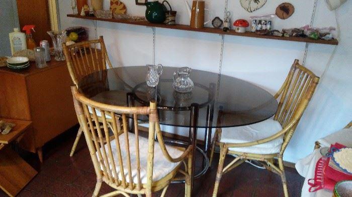 Glass top chrome base table
