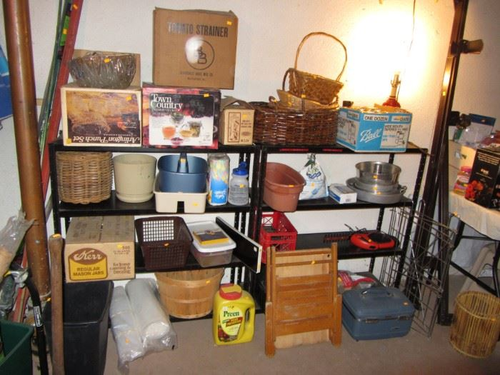 Baskets, child's wooden chair, punchbowls, shelving, canning supplies