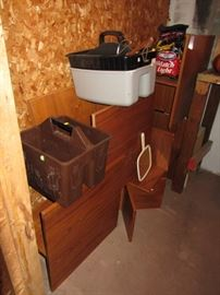 many teak cubicles from WorkBench