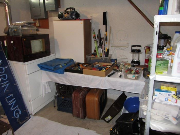 Vintage TV, Suitcases, storage cabinets