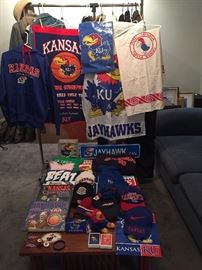 Kansas Jayhawk items - Includes historic Hotel Jayhawk, Topeka, KS, table cloth