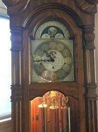 Sligh Westminster Chime Grandfather clock, oak cabinet
