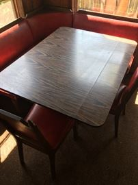 Corner seat dinette w/ 3 leather chairs