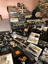 pendants, pins, costume, gold