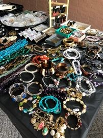silver, lots of turquoise, gemstones