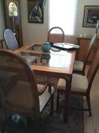 Dining table, leaves and chairs