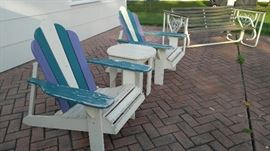 Adirondack chairs and matching side table