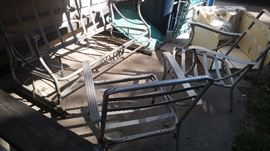 Aluminum glider and matching chairs