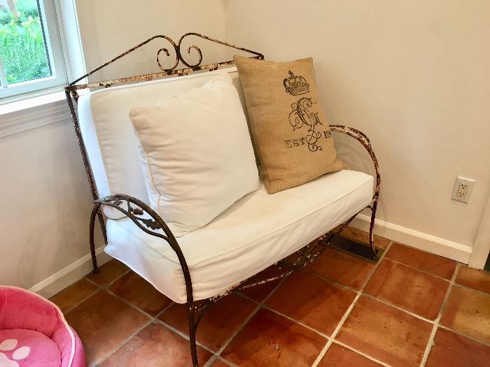 Antique iron bench
