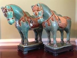 Pair of Tang Dynasty style ceramic horses on wooden bases