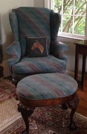 Wingback Chair with matching Ottoman
