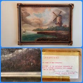 vintage oil on canvas,  Art Nouveau frame