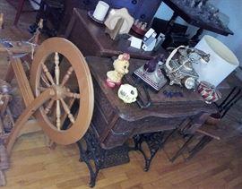 spinning wheel, antique sewing machine, Coke