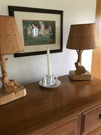 A pair of carved lamps with thin wood shades!