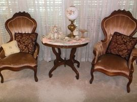 Victorian Mr. and Mrs. chairs and marble top center table