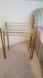 Metal glass stacking tables