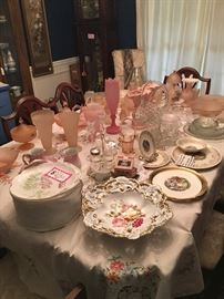 Beautiful collection of pink satin glass, lots of antique glassware and China!
