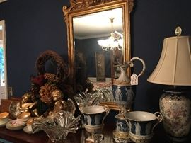 Rare antique greek figure urns and pitcher set, mirror, lamps, crystal and so much more!!